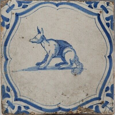Nice Dutch Delft Blue tile, fox, first half 17th. century.