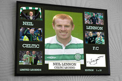 NEIL LENNON CELTIC  LIMITED EDITION A4 Signed Framed Canvas Print Great Gift