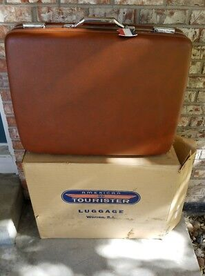 American Tourister Vintage Suitcase Luggage Brown Hard Shell  NO KEY Retro