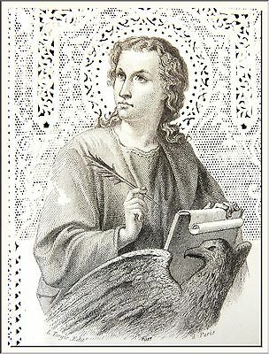 "ANTIQUE 1870's FRENCH ""SAINT JOHN THE EVANGELIST "" CANIVET LACE HOLY CARD !!!"