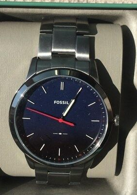 4d78eabd246e Fossil Fs5377 Mens The Minimalist Slim Smoke Stainless Steel Blue Dial Watch