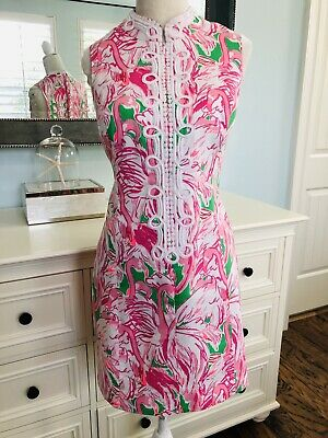 490348b8891684 EUC Lilly Pulitzer Alexa Shift Dress The Colony Pink Flamingos Beach Resort  10