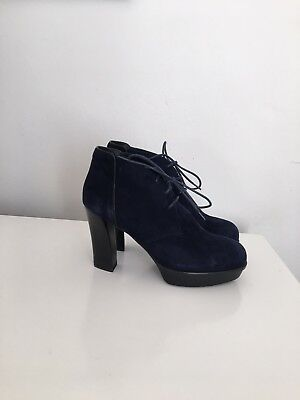 deceaf6f3ad New Tod's Navy Blue Suede Lace Up Platform High Heel Boots Size 37 Made In  Italy