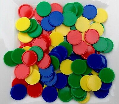 100 Maths Counters - 20mm - 4 solid colours and 25 of each colour.