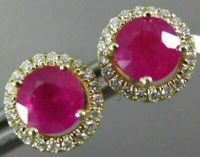 Estate 1.10Ct Diamond & Aaa Ruby 14Kt Yellow Gold 3D Round Halo Stud Earrings