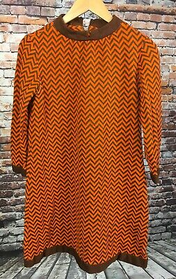 ac1c958c4614 VINTAGE 60S 70S Dress Striped Shift Mini Shirtwaist Zig Zag Chevron ...