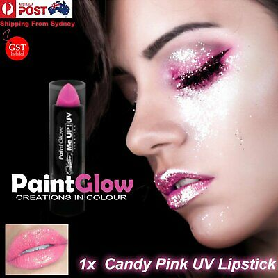 4g UV Neon Glitter Lipstick Sparkle Make Up Festival Party Candy Pink Paint Glow