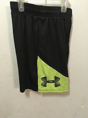 99ee456a8102f Under Armour Tech Prototype HEATGEAR Shorts •BLACK SOFT LIME• Boys Youth  SMALL