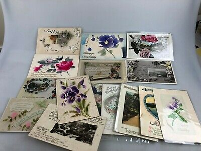 Vintage - Lot Of 15 Postcards - Happy Birthday Themes - Beautiful Lot