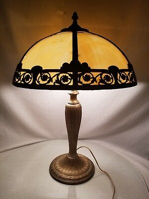 Antique A & R CO. Panel Art Nouveau Slag Glass Shade Caramel Art Crafts Signed