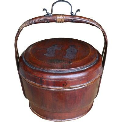 Antique Wood Carrying Basket /Lunch Box w Painting (35-083)