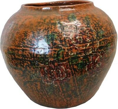 Brown Chinese Painted Decor Ginger Jar (34-036H)