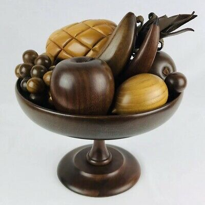 Vintage Margaret Studios Inc. Murphy NC Wood Fruit Bowl With Fruit Rare Mid Cent