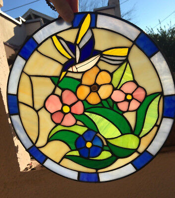 """Vintage Leaded Stained Glass HUMMINGBIRD Flowers 12"""" Suncatcher Panel 100 Pieces"""