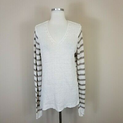 93a2bf37ec ATHLETA WOMENS XL Striped Sweater Navy White 100% Linen -  14.00 ...