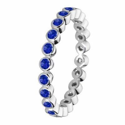 Size 8 Solid Sterling Silver Blue Round Stone Cubic Zirconia Stacking Ring Band