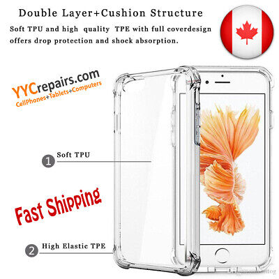 Shockproof Clear Soft Silicone TPU Gel Cover Slim Case Fit Samsung iPhone