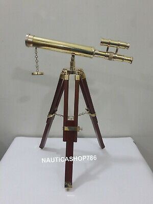 Nautical Marine Navy Brass Telescope Double Barrel With Table Tripod Stand