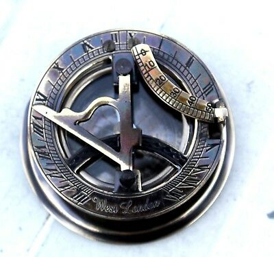 "Nautical Sundial Compass Solid Brass WEST LONDON W/ Cover Marine Gift Item 3""."
