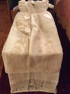 Vintage Hand Embroidered Cream Christening Baby Girl Doll Dress Matching Bonnet