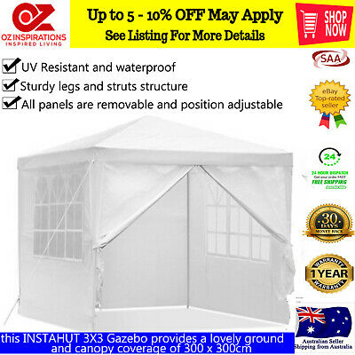 3M Pop Up Gazebo Outdoor Hut Tent Marquee Wedding Party Market Folding Canopy