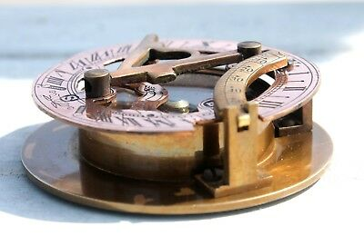 "2""Nautical Brass Sundial Compass Antique Copper WEST LONDON Vintage Marine Item."