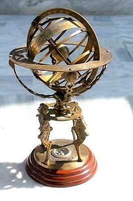 Vintage Large Engraved Armillary~ Nautical Solid Brass Globe Sphere .