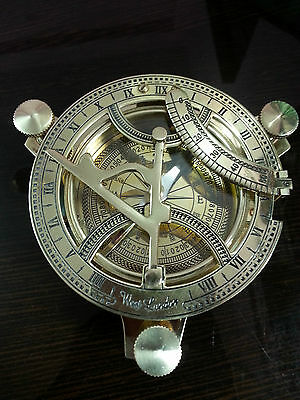 "Vintage Style Antique Brass Replica Directional Sundial Compass Marine Item 4""."