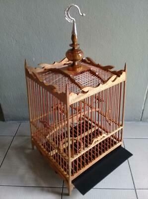 Hand made small teak & bamboo showcasing bird cage Professional cage FREE POST