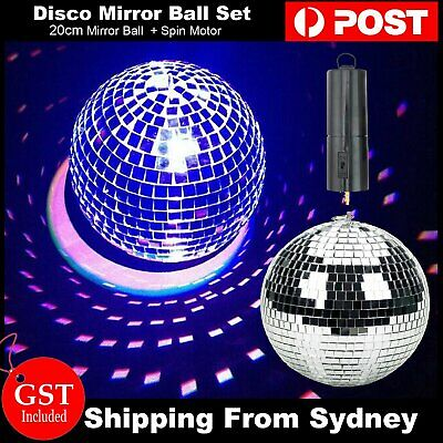 20cm Mirror Ball with Battery Operated Spin Rotating Motor Disco Party Stage Set