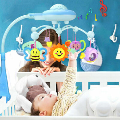 Baby Musical Crib Mobile Bed Bell Toys Hanging Rattles Light Flash Projection