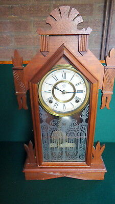 """VICTORIAN. """"Ansonia"""" American Mahogany Mantel Clock which Works Very Well c1900"""