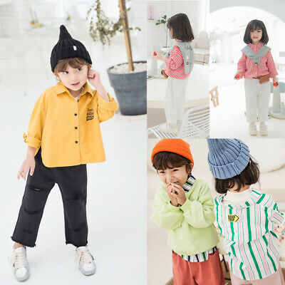Age 2-7 Y Kids Boys Girls Button Cardigan Jacket Striped Shirt Tops T-Shirt Coat
