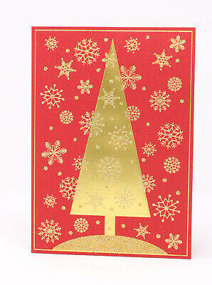 Papyrus Christmas Cards.Papyrus 12 Christmas Cards Gold Sparkling Snowflakes Christmas Tree Envelopes Se