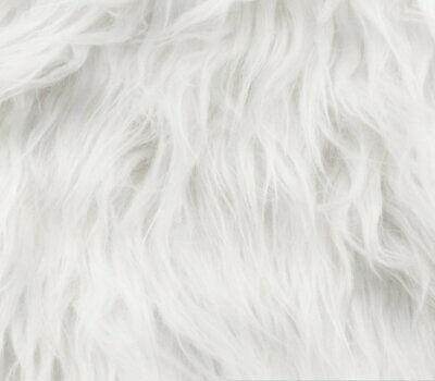 "Luxury LONG Hair PILE White Fun Faux Fur Fabric 60"" 150cm wide Furry Christmas"