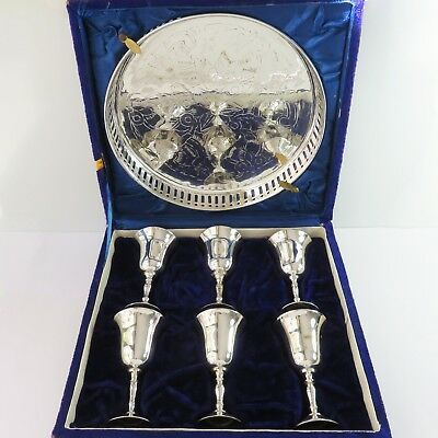 Vintage Silverplate Set of 6 Liqueur/Cherry Cup/Goblet & Drinks Serving Tray