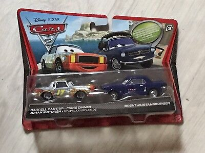 Rare Mattel Voiture Disney Pixar Cars 2 Chris Dinner + Brent Mustangburger