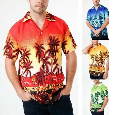 Mens Hawaiian Shirt Surf Beach Holiday Stag Outfit Dance Party Floral Rockabilly