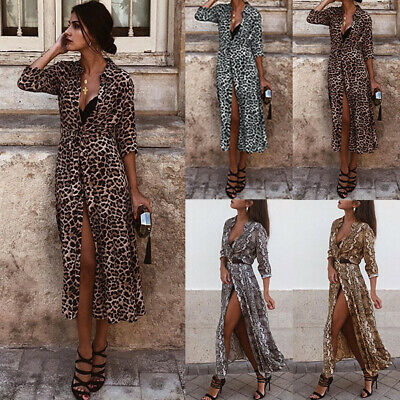 Sexy Womens Leopard Snake Print Long Maxi Dress Ladies Everning Party Wrap Dress