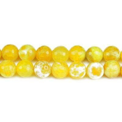 Packet 6 x Yellow Fire Agate 10mm Faceted Round Beads VP2040