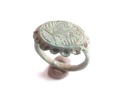 Late ROMAN PERIOD Acient Roman Bronze Ring with a CROSS> nice patina > WEARABLE!