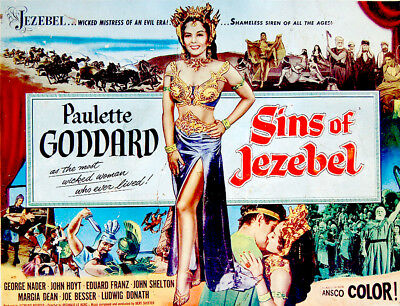 "1953 Original MOVIE POSTER Film PAULETTE GODDARD Bible ""SINS OF JEZEBEL"" Bible"