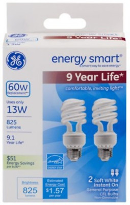 GE Lighting 74196 Energy Smart Spiral CFL 10-Watt 1-Pack 520-Lumen T3 Spiral Light Bulb with Medium Base 40-watt replacement