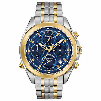 Bulova Precisionist Chronograph Date Blue Dial St.steel Men's Watch 98B276 New
