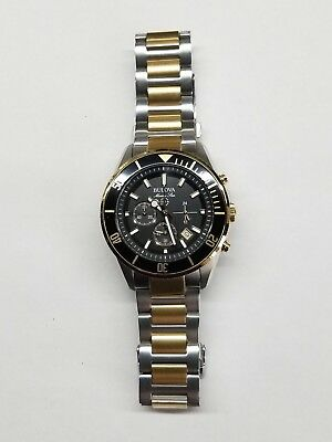 Bulova Marine Star Chronograph Date Two-Tone St.steel Men's Watch 98B249 New