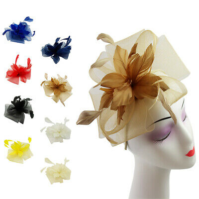Small Flower Feather Mesh Hair Hat Fascinator Headband Clip Wedding Royal Ascot