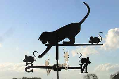 Standard Cat and Mouse Metal Weathervane (Vertical Fixing Bracket)