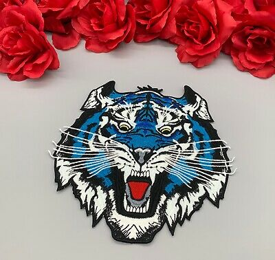 "9"" Large Blue Tiger Animal Embroidered Iron On Fashion Patch DIY Jacket Shirt"