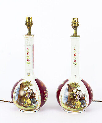 Antique Pair German Dresden Style Porcelain Lamps  C1920