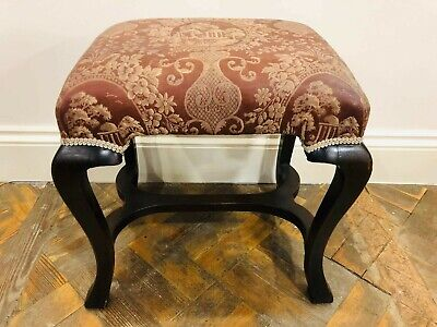 Edwardian Style Stool with Fabric Seat - Delivery Available